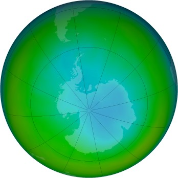 Antarctic ozone map for 2005-07