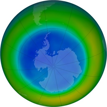 Antarctic ozone map for 2005-08