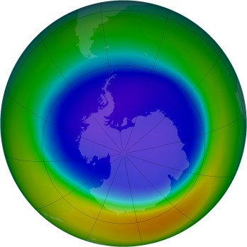 Antarctic ozone map for 2005-09