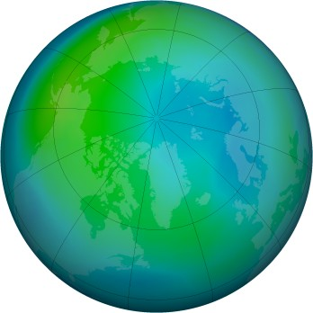 Arctic ozone map for 2005-10
