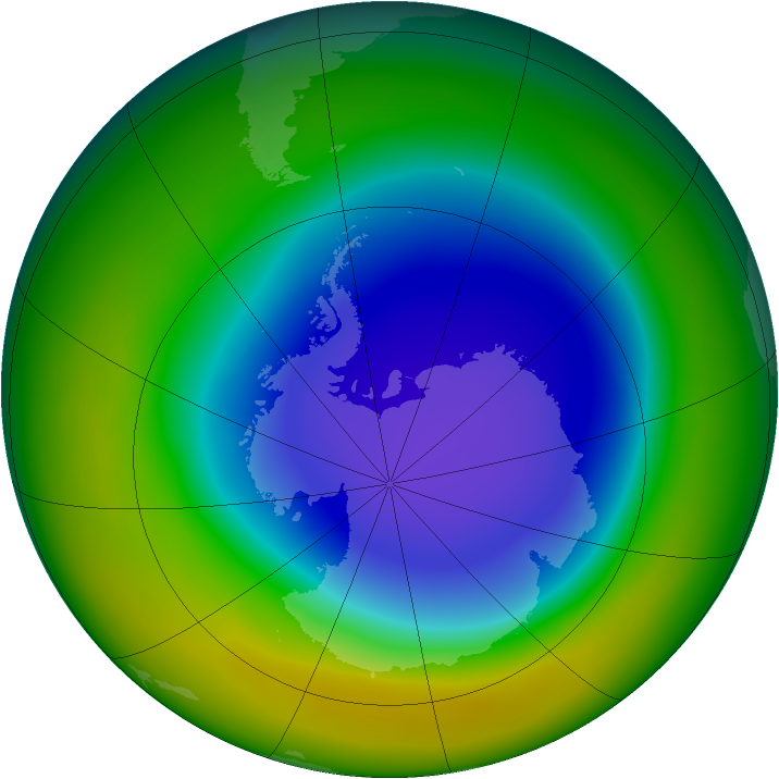 Antarctic ozone map for October 2005