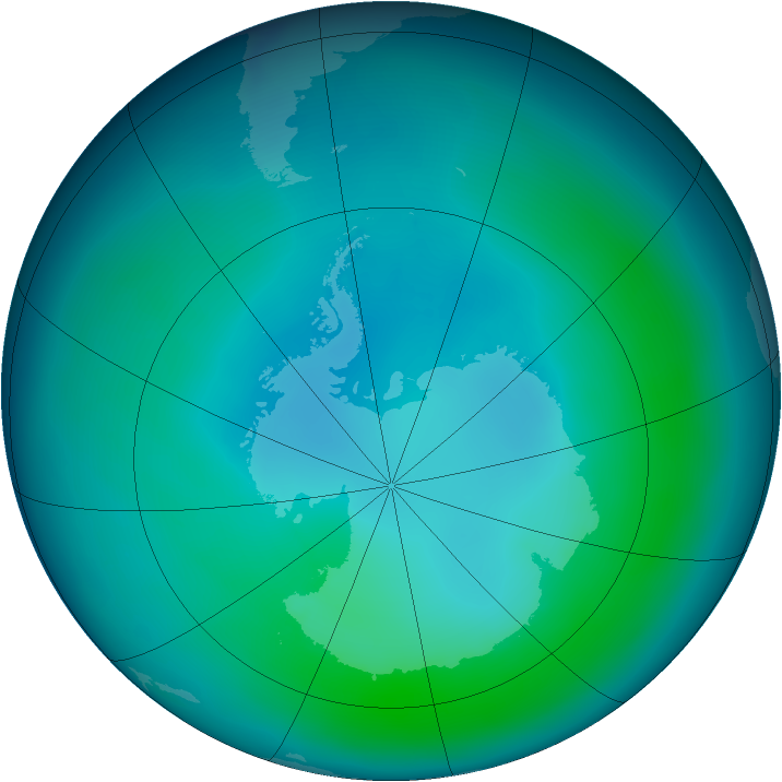 Antarctic ozone map for February 2006