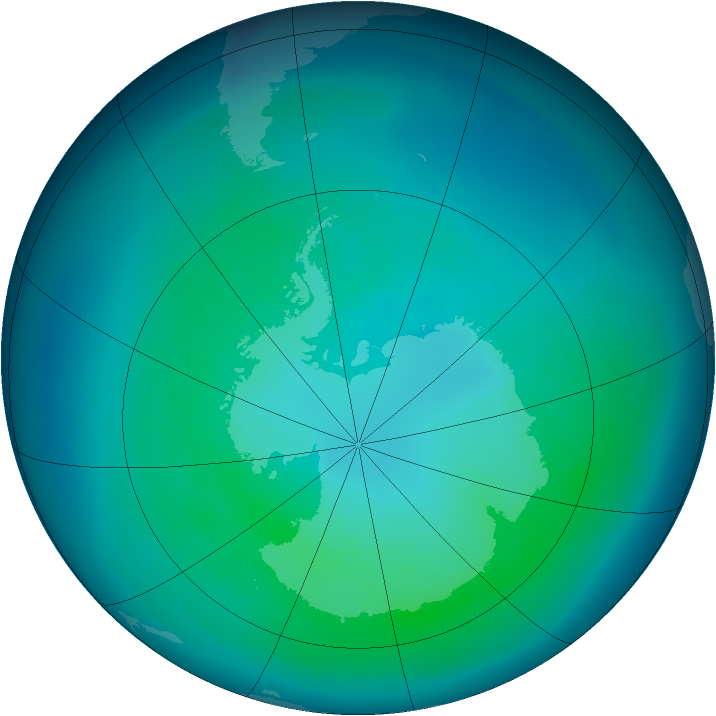 Antarctic ozone map for March 2006