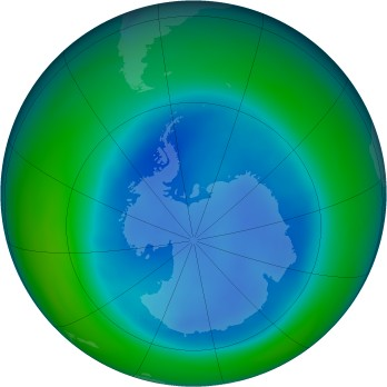Antarctic ozone map for 2006-08