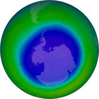 Antarctic ozone map for 2006-09
