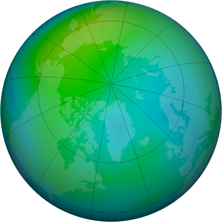 Arctic ozone map for October 2006