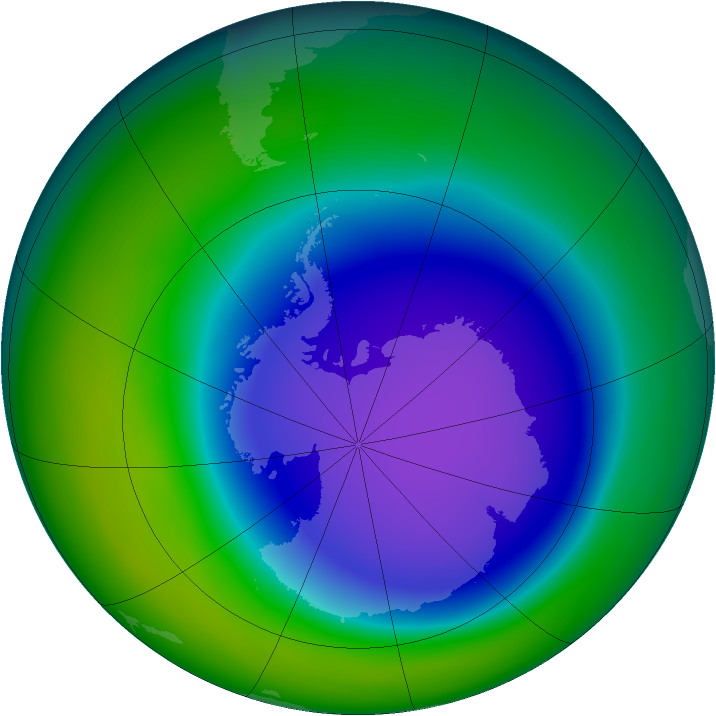 Antarctic ozone map for October 2006