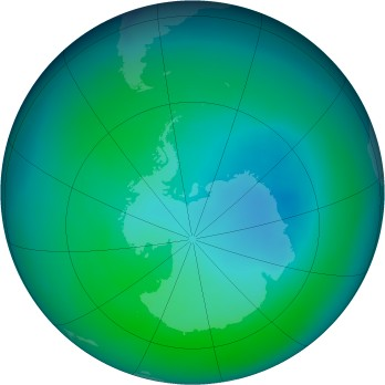 Antarctic ozone map for 2006-12