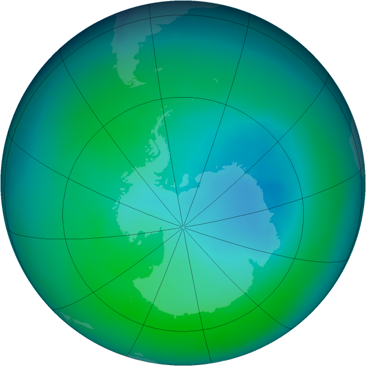 Antarctic ozone map for December 2006