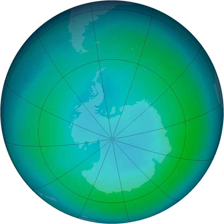 Antarctic ozone map for January 2007