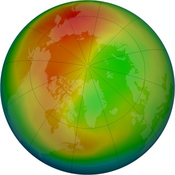 Arctic ozone map for 2007-02