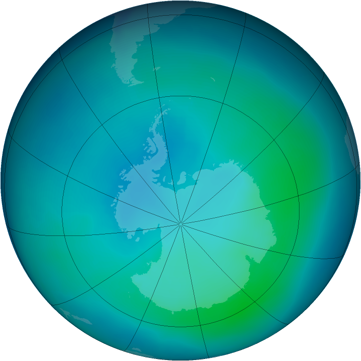 Antarctic ozone map for February 2007
