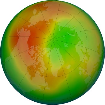 Arctic ozone map for 2007-03