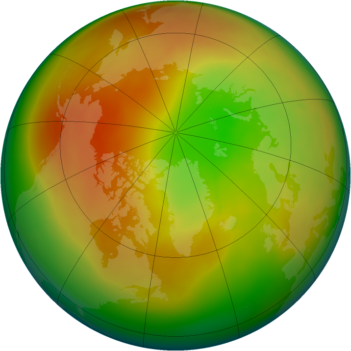 Arctic ozone map for March 2007