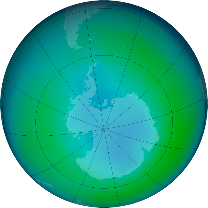 Antarctic ozone map for May 2007