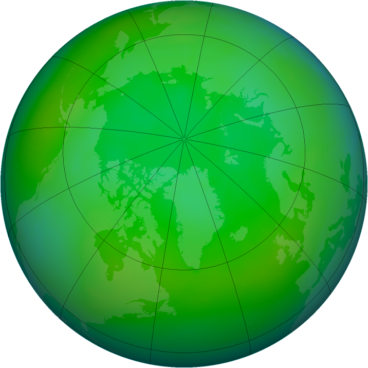 Arctic ozone map for July 2007