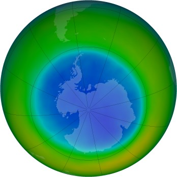 Antarctic ozone map for 2007-08