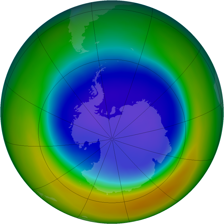 Antarctic ozone map for September 2007
