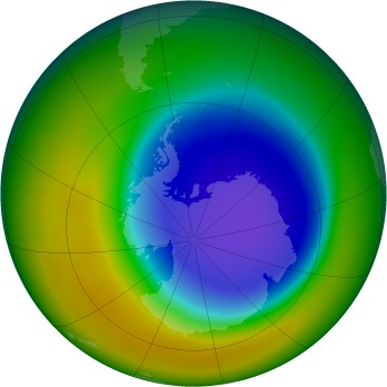 Antarctic ozone map for 2007-10