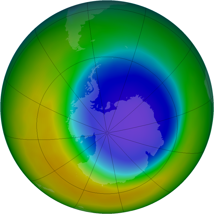 Antarctic ozone map for October 2007