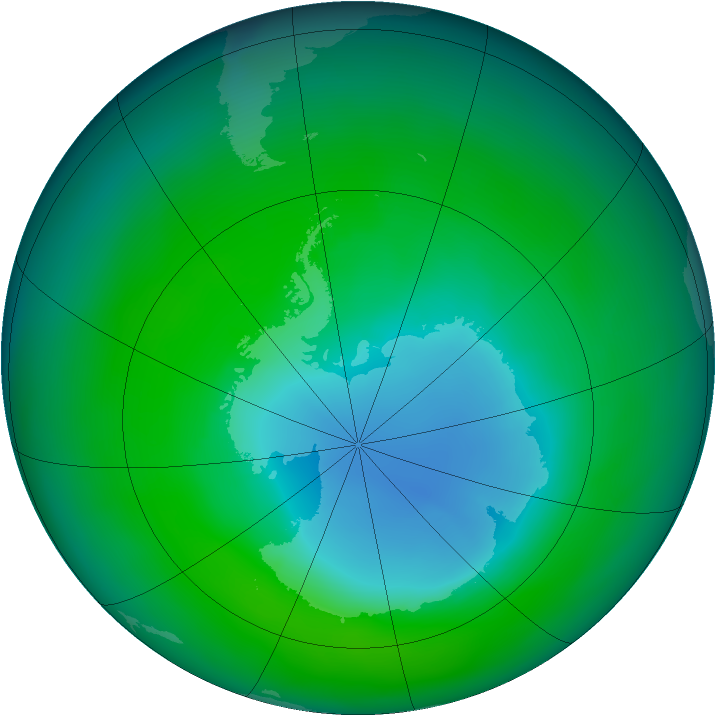 Antarctic ozone map for December 2007
