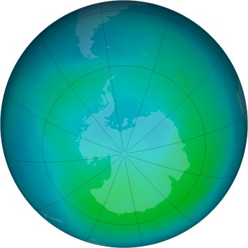 Antarctic ozone map for 2008-02