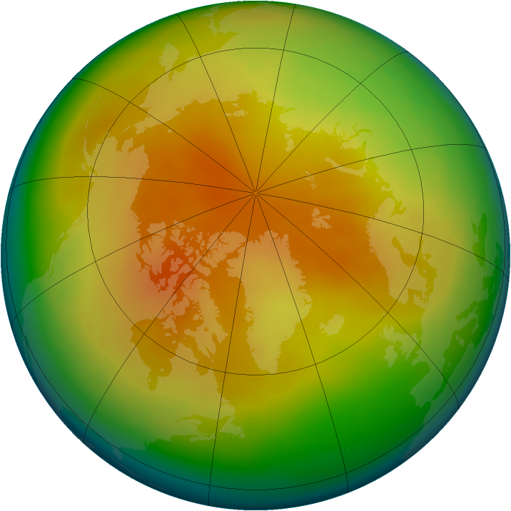 Arctic ozone map for March 2008