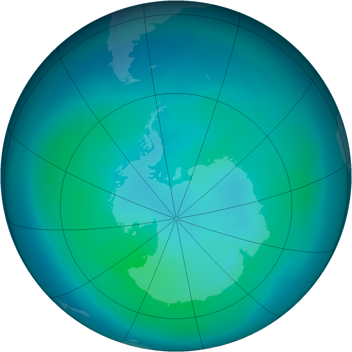 Antarctic ozone map for March 2008