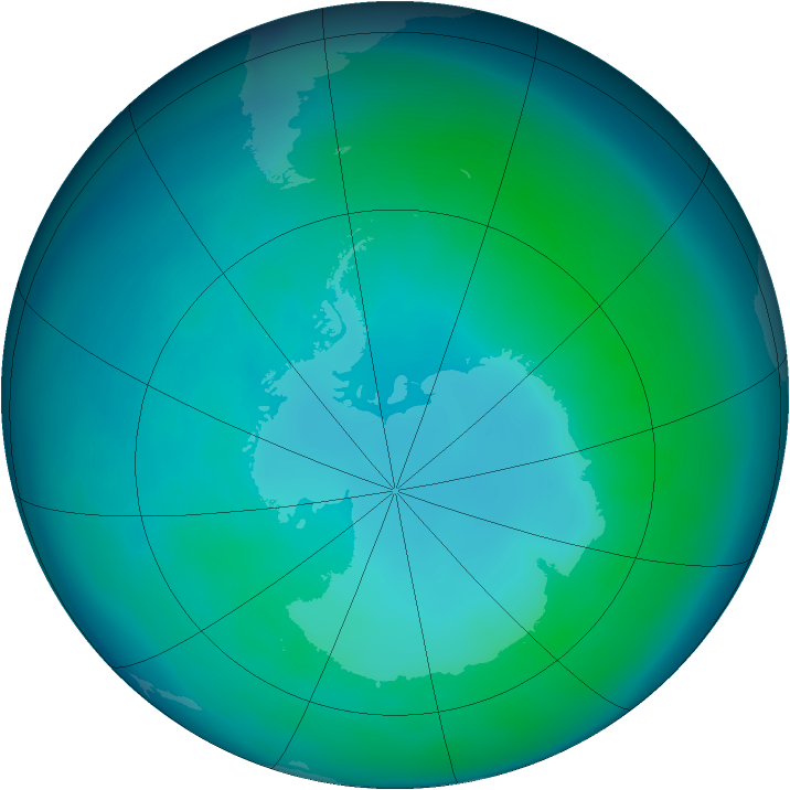 Antarctic ozone map for April 2008