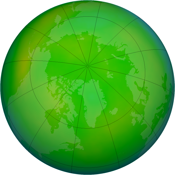 Arctic ozone map for June 2008