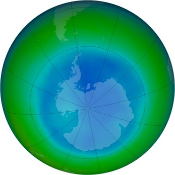 Antarctic ozone map for 2008-08
