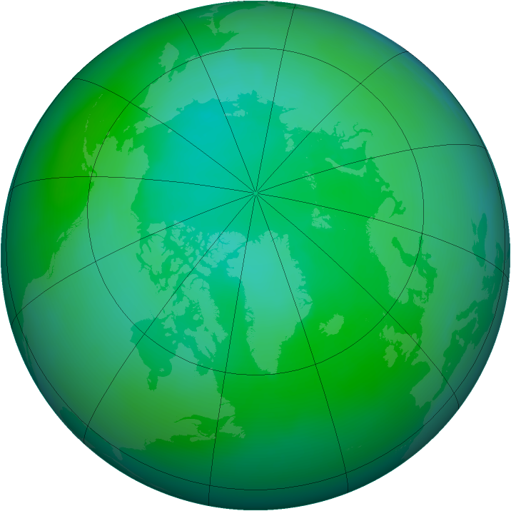Arctic ozone map for August 2008