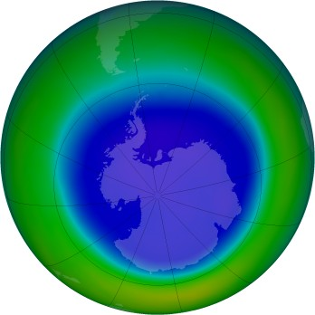 Antarctic ozone map for 2008-09