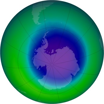 October 2008 monthly mean Antarctic ozone