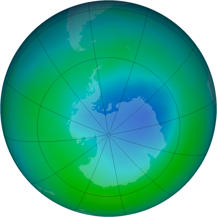 Antarctic ozone map for December 2008