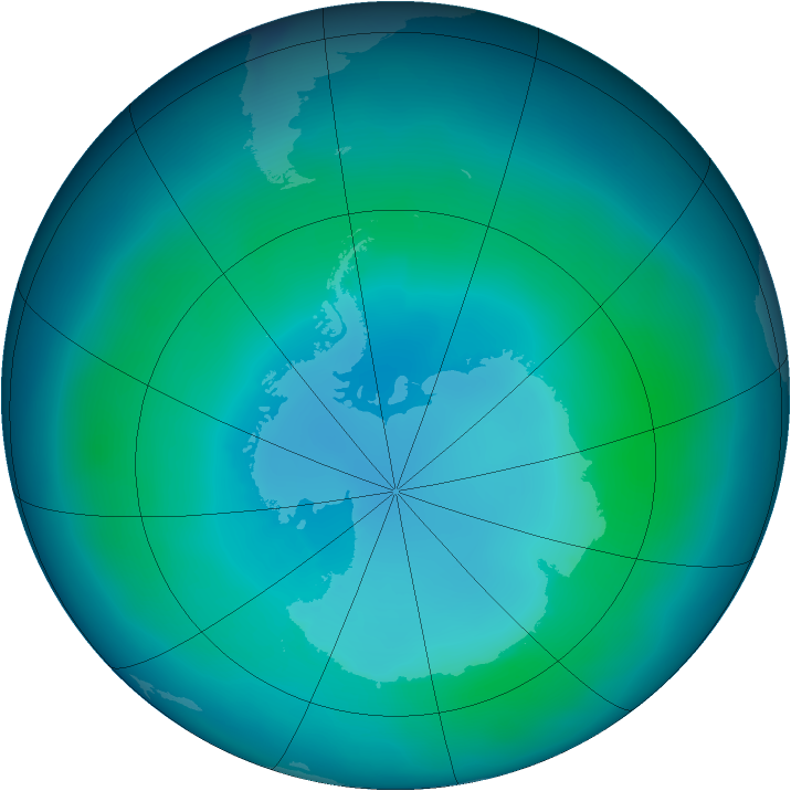 Antarctic ozone map for February 2009