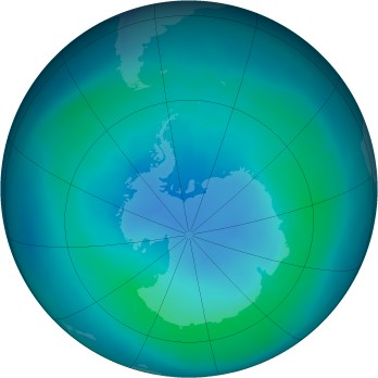 Antarctic ozone map for 2009-03