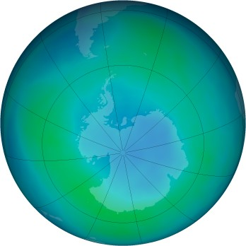 Antarctic ozone map for 2009-04
