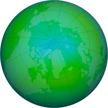 Arctic ozone map for 2009-08