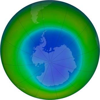 Antarctic ozone map for 2009-08