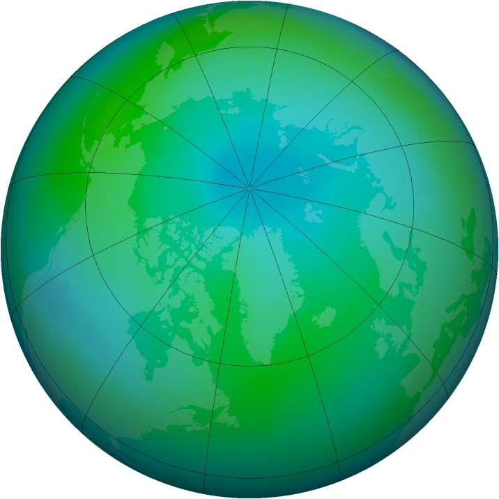Arctic ozone map for September 2009