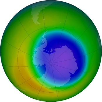Antarctic ozone map for 2009-10