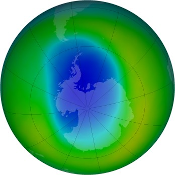 Antarctic ozone map for 2009-11