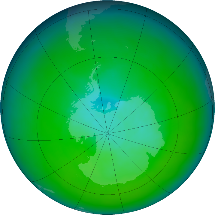 Antarctic ozone map for December 2009