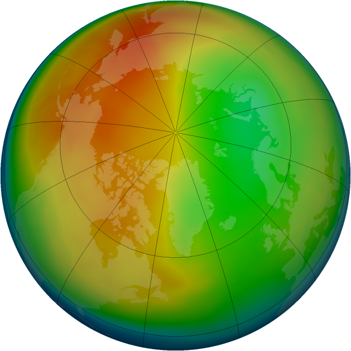 Arctic ozone map for January 2010