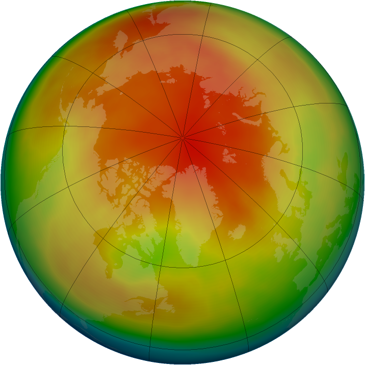 Arctic ozone map for February 2010