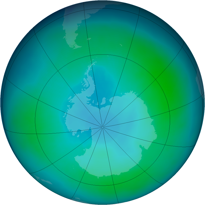 Antarctic ozone map for February 2010