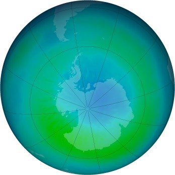 Antarctic ozone map for 2010-03