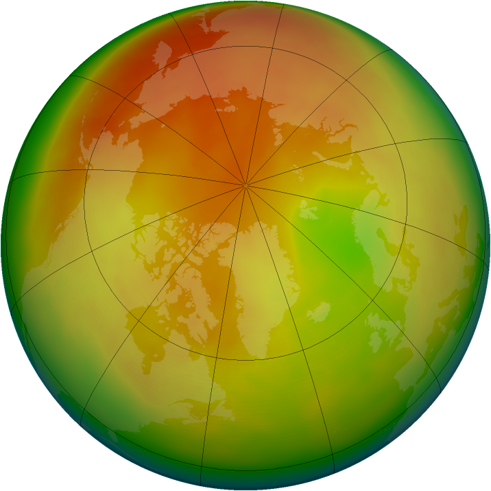 Arctic ozone map for April 2010