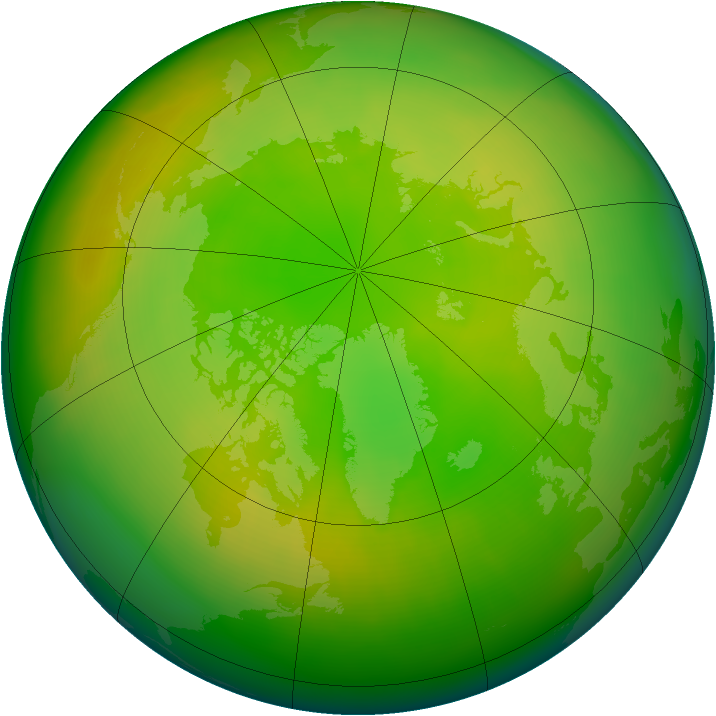 Arctic ozone map for June 2010